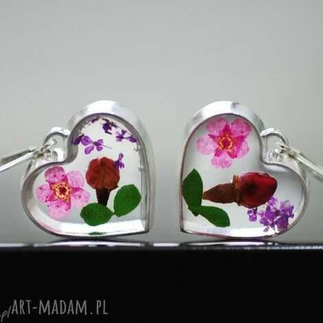 925 srebrne kolczyki bukiet kwiatów, kwiaty, żywica, natura, liście, płatki, kolor