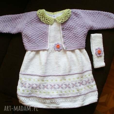 komplet kwiatuszek, komplet, sukienka, sweterek, dziewczynka, bawełna ubranka dla