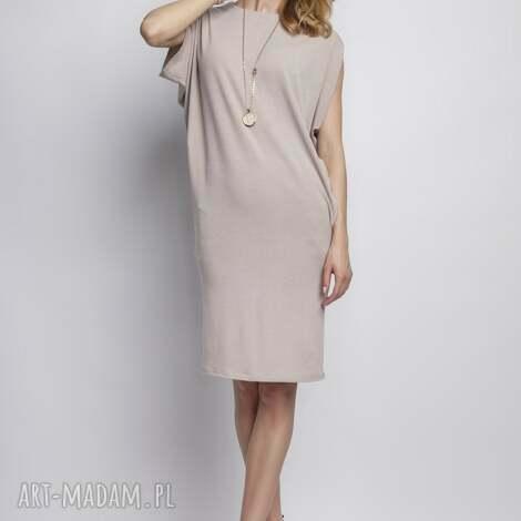 lanti urban fashion sukienka, suk102 beż, casual, tunika, kimono, gładka, miejska