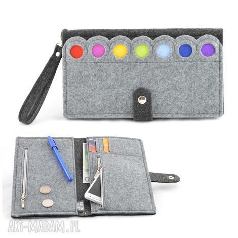 duży portfel/saszetka filcowy z kropkami- xxl, saszetka, portfel, kopertówka