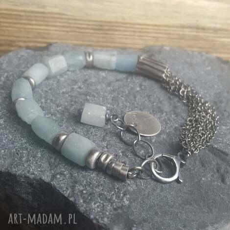 bransoletka srebrna z akwamarynami, srebro akwamaryn, surowy modna