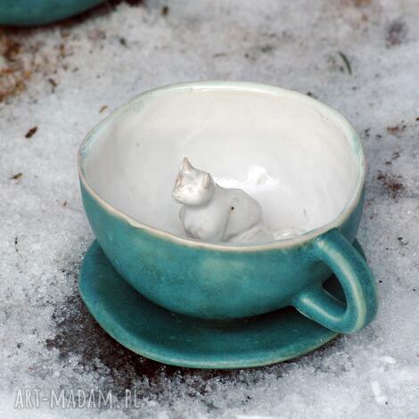 ceramiczna filiżanka kubek z figurką kota - morska, kubek, filiżanka, ceramika