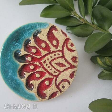 unikatowa broszka - ceramiczna, turkusowa, folkowa, etniczna