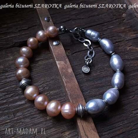 szarotka pół na bransoletka z naturalnych pereł i srebra, perła, naturalna