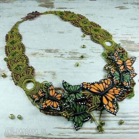 naszyjnik z motylami - unikatowy - naszyjnik, motyle, makrama, oryginalny, niepowtarzalny