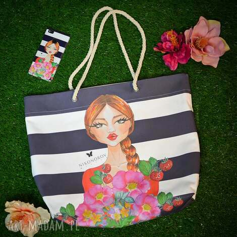 na zakupy torba - arnika botanika, torba, duża, paski, nadruk torebki