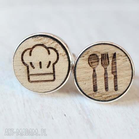 drewniane spinki do mankietów kucharz, sztućce czapka ekologiczne