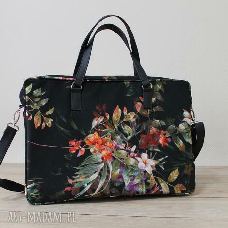 torebki niezwykle torba na laptop - tropikalne kwiaty i liście, elegancka