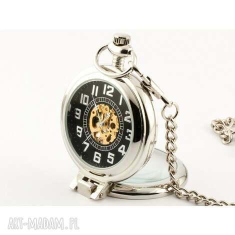 elegancja w srebrze black, zegarek, święta prezent