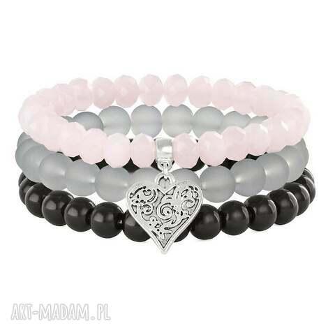 simply charm-pink,black, gray silver trio - serce, krysztłek, koralik