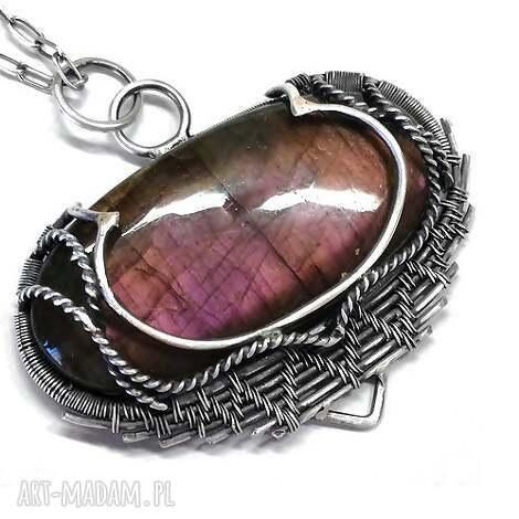 wisiorki dellay, wisior, srebro, labradoryt, fiioletowy, kamień, biżuteria biżuteria