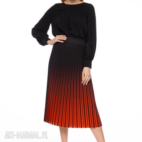 spódnica berenike, plisowana, ombre, cieniowana, midi, stylowa, elegancka