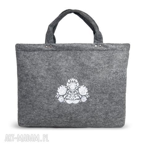 torba na laptopa z wzorem ludowym, haft, torba, filc
