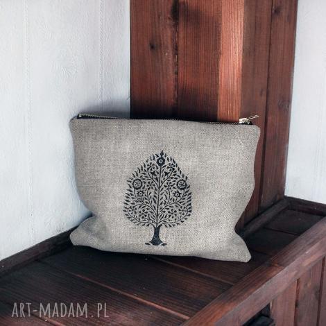kosmetyczka etui lniane z orientalnym wzorem bodhi tree, len, mała