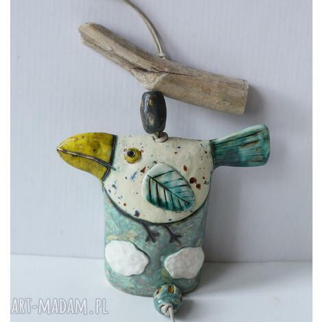 dzwonek ptak w chmurach duży, ceramika, dzwonek, ptak