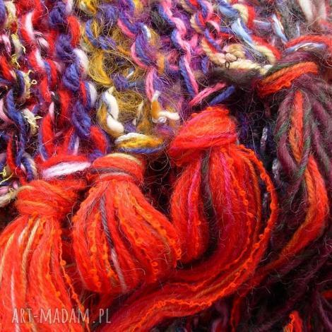 kolorowy szal boho 36, łączonewłóczki, wełnianyszal koloroweresztki