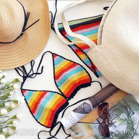mondu tęczowe bikini, kostium, tęczowe, szydełkowe, bawełniane