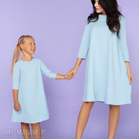 sukienki komplet dla mamy i córki, elegancka sukienka trapezowa z kieszeniami, model