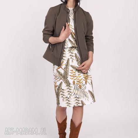dopasowana kurtka na zamek, kr104 khaki, podszewka, zamki, klasyczna, kobieca