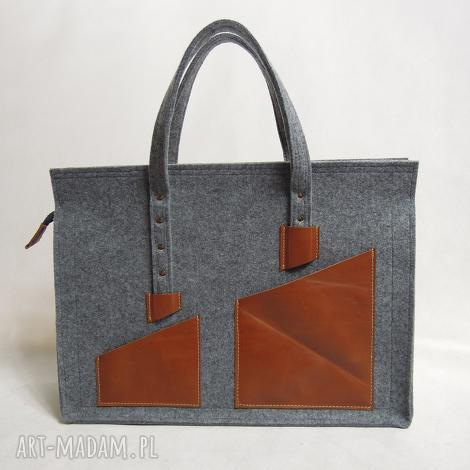 duża torba na laptop - filc i skóra unisex, laptop, tablet, podróżna, pojemna