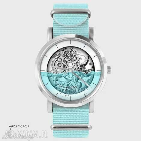 zegarki zegarek, bransoletka - wodny steampunk niebieski, nato, zegarek