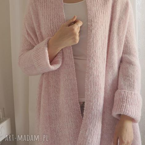 swetry lekki różowy kardigan, dziergany, lekki, wełniany, sweter, wiosenny