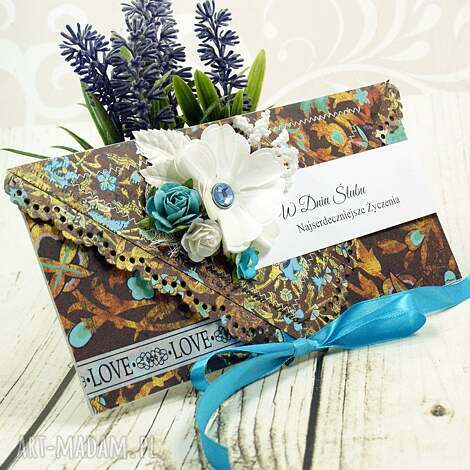 kartka ślubna- lato w maroko ślub, wesele kopertówka, kwiaty