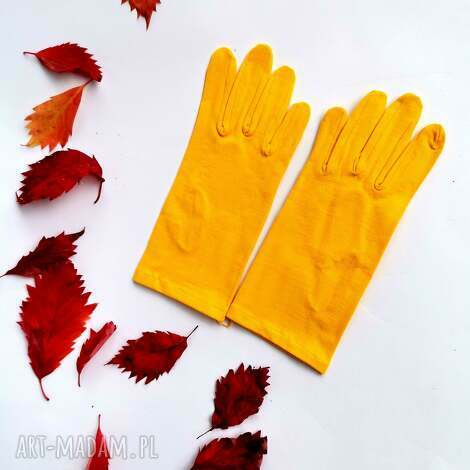 rękawiczki żółte dzianina krótkie one size rękawiczki, folk, jesienne