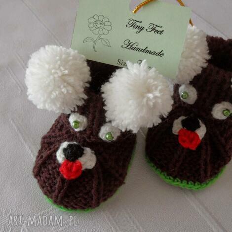 buciki niemowlęce z pomponami, buciki, kapciuszki, dziecięce dla dziecka