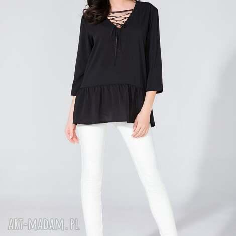 bluzka koszulowa ze wstążką t134 czarny - bluzka, koszulowa, szyfon