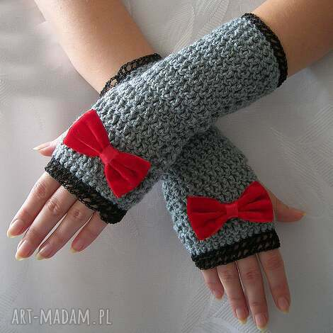rękawiczki - mitenki szare z czerwoną kokardką - rękawiczki, mitenki