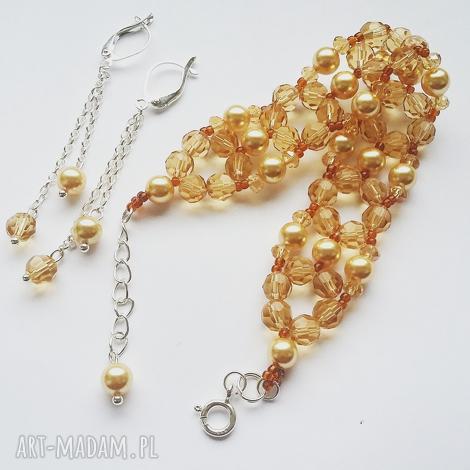 komplet beading z perłami swarovskego srebro 925 kolczyki bransoletka