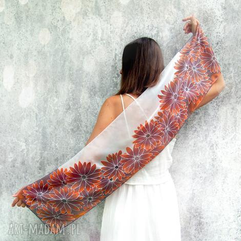 ręcznie malowany szal rudbekie, szal jedwabny, szalik brązowy, malowany jedwab