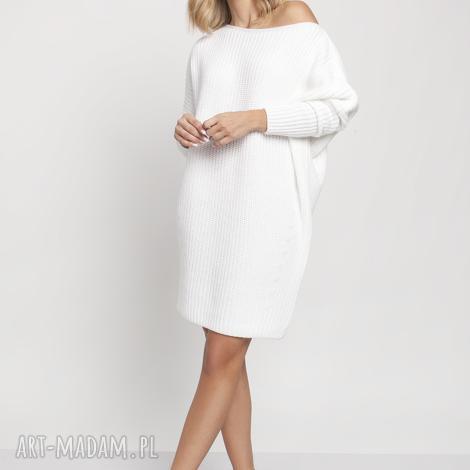 oversizeowa tunika, swe189 biały mkm, sweter, dzianina, modna