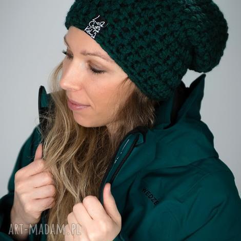 czapka mono 17 - butelkowa zieleń czapa, beanie, unisex, prezent snowboard