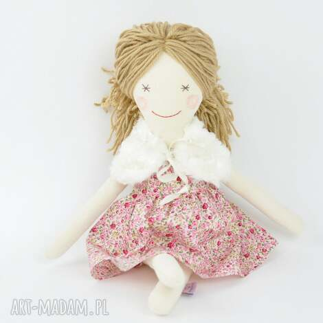 lalka szmaciana, sukienka w różyczki - lalka, szmacianka, przytulanka, szmaciana
