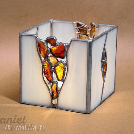 oryginalny prezent, witraże lampion z bursztynami amber, świecznik, lampion, borsztyn