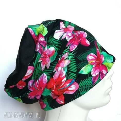 czapka dzianinowa charakter wiosenny sportowa - czapka, kwiaty, etno, boho, kolorowa