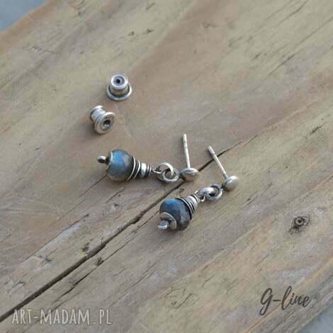 labradoryt, srebrne kolczyki na wkrętkach, srebro, wkrętki