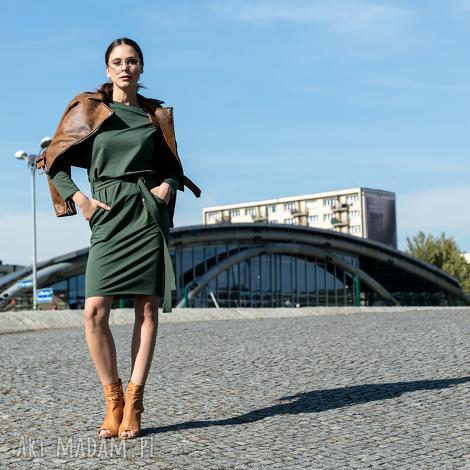 sukienki luźna sukienka z paskiem i kieszeniami, t250, zielony, lużna