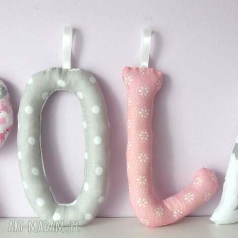 literki szyte imię pola ozdoba pokoju - litery, literki, imię, dziecka, prezent