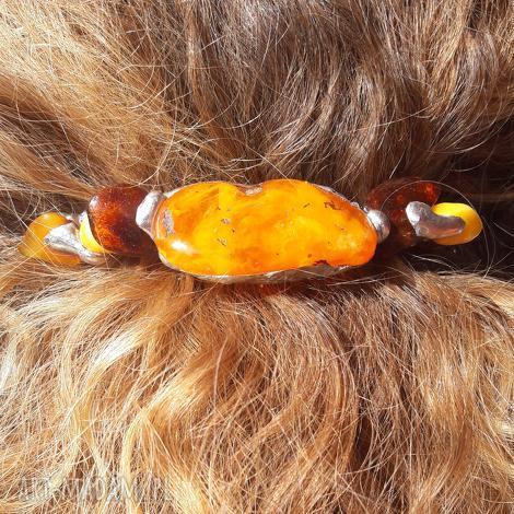 ozdoby do włosów spinka bursztyn tiffany, spinka, włosy