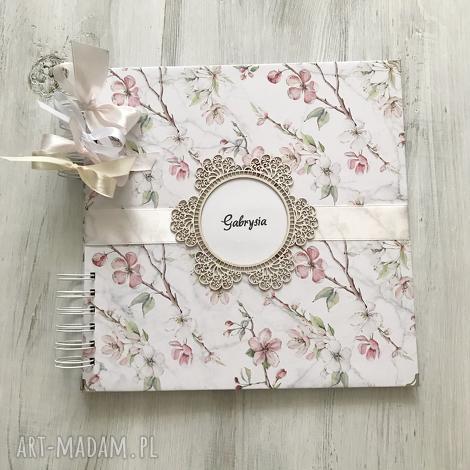 album - kwiaty jabłoni prezent na urodziny, komunię, ślub, album, komunia