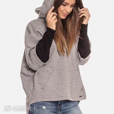 bluzy bien fashion szara bluza z kapturem kangurka l, kangurka, asymetryczna