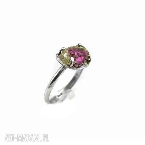 wyjątkowy prezent, turmalin arbuzowy, pierścionek