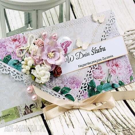 kopertówka ślubna- motyle w ogrodzie - ślub, wesele, młoda, para, kartka