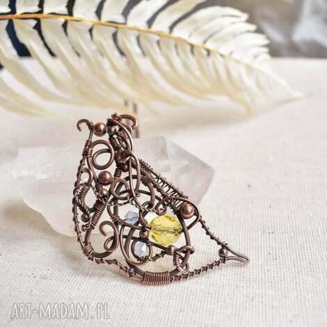 butterfly wing - naszyjnik naszyjnik z kryształem, wisior miedziany, romantyczny