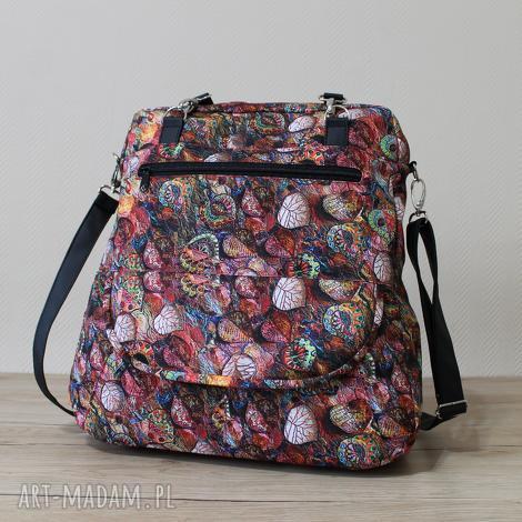 plecak torba listonoszka - jesienny melanż, elegancka, pakowna, liście, prezent
