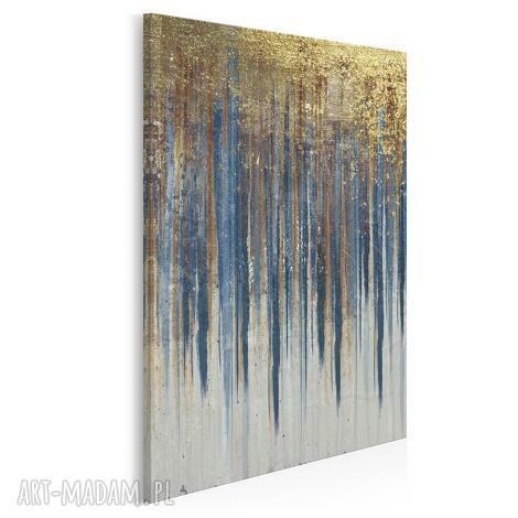 obraz na płótnie - wzór niebieski złoty w pionie 50x70 cm 90403