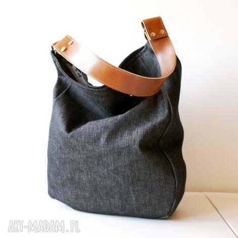 na ramię iks dżins czerń rudy, torba, torebka, jeans, dżins, worek, skóra torebki